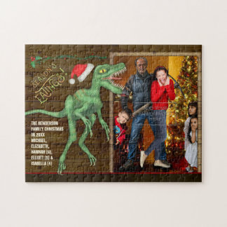 Christmas Family Photo Funny Velociraptor Dinosaur Jigsaw Puzzle