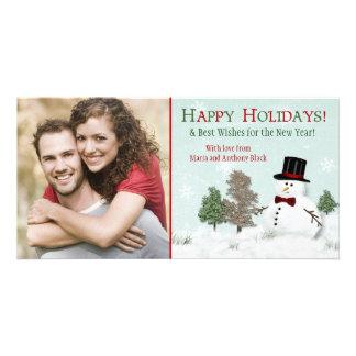 Christmas Family Photo Snowman Holiday Photocard Card