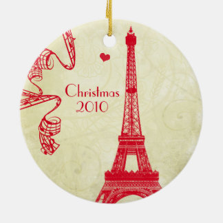 Christmas Family Photo with Eiffel Tower Christmas Ornament