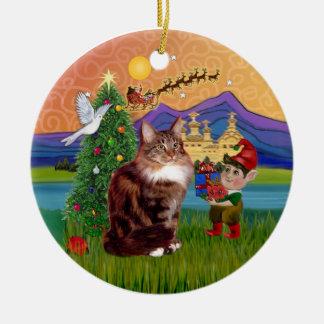 Christmas Fantasy - Maine Coon cat Christmas Ornament