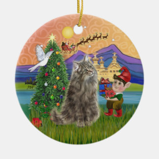 Christmas Fantasy - Norwegian Forest cat Christmas Ornament