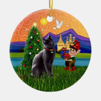 Christmas Fantasy - Russian Blue cat Christmas Ornament