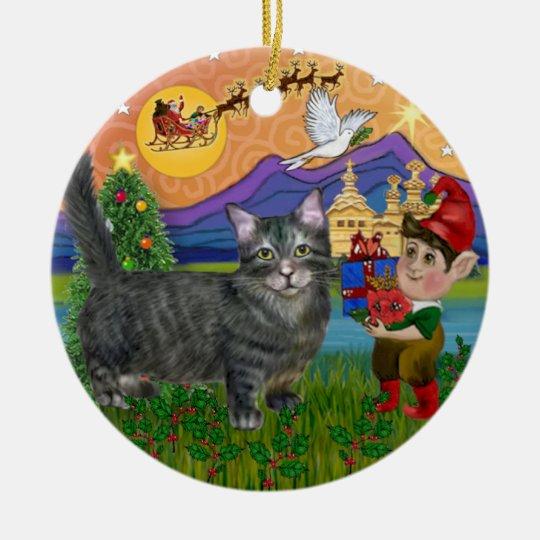 Christmas Fantasy - Tabby Munchkin Cat Christmas Ornament