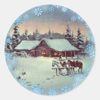 CHRISTMAS FARM by SHARON SHARPE Round Sticker