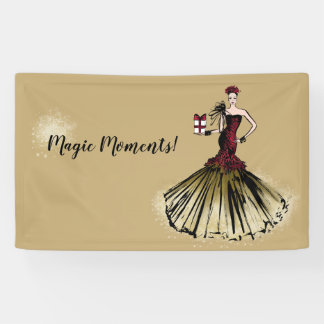 Christmas Fashion Illustration with parcel Banner
