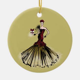 Christmas Fashion Illustration with parcel Christmas Ornament