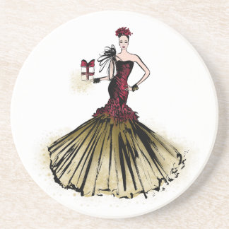 Christmas Fashion Illustration with parcel Coaster