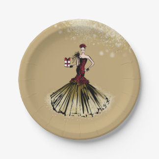 Christmas Fashion Illustration with parcel Paper Plate