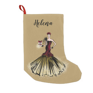 Christmas Fashion Illustration with parcel Small Christmas Stocking