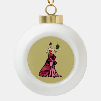 Christmas Fashion Illustration with tree Ceramic Ball Christmas Ornament