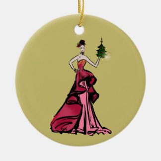 Christmas Fashion Illustration with tree Christmas Ornament