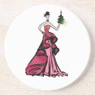 Christmas Fashion Illustration with tree Coaster