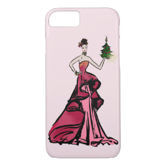 Christmas Fashion Illustration with tree iPhone 8/7 Case