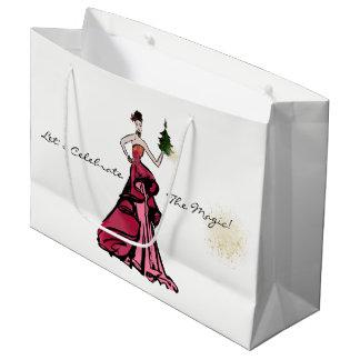 Christmas Fashion Illustration with tree Large Gift Bag