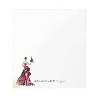 Christmas Fashion Illustration with tree Notepad