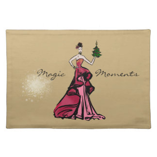 Christmas Fashion Illustration with tree Placemat