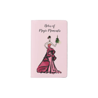 Christmas Fashion Illustration with tree Pocket Moleskine Notebook
