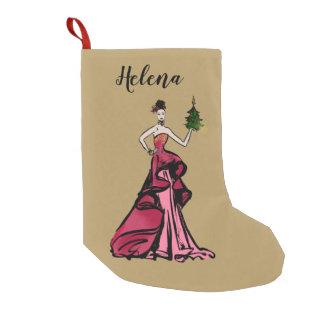 Christmas Fashion Illustration with tree Small Christmas Stocking