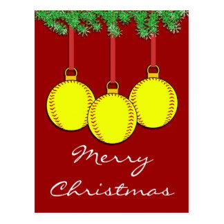 Christmas Fastpitch Softball Postcard