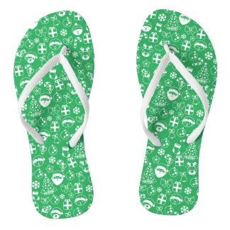 Christmas Favorites Green Santa Elf Snowman Santa Flip Flops