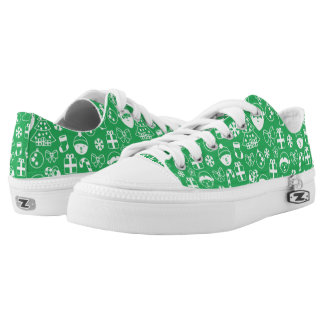 Christmas Favorites Green Santa Elf Snowman Santa Low Tops