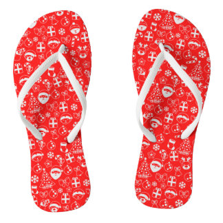 Christmas Favorites Red Santa Elf Reindeer Pattern Flip Flops