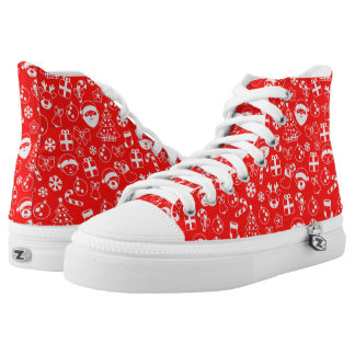 Christmas Favorites Red Santa Elf Snowman Pattern High Tops