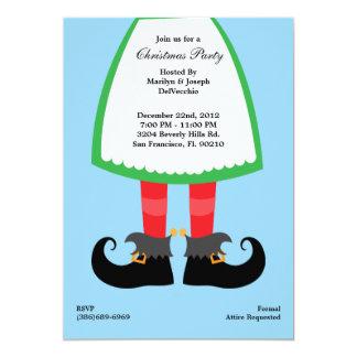 Christmas Feet, CUTE Elf Holiday 13 Cm X 18 Cm Invitation Card