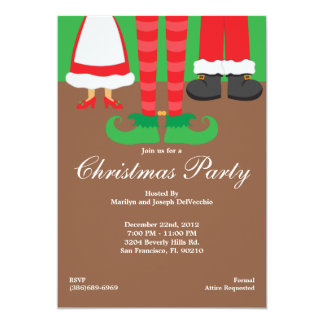 Christmas Feet, Santa, Elf and Mrs. Claus Holiday Card