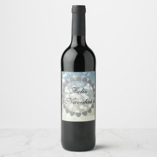 Christmas Feliz Navidad wine bottle label