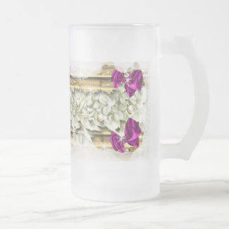 Christmas festive coffee decorations frosted glass mug
