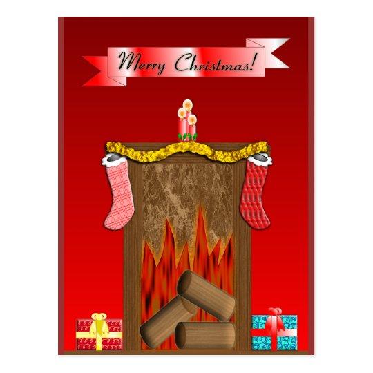 Christmas Festive Fireside Postcard