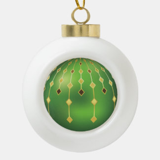 Christmas Festive Gold and Green Ceramic Ball Christmas Ornament