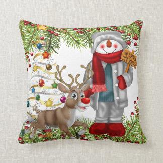 christmas festive snowman reindeer cushion pillows