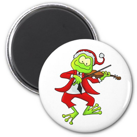 Christmas Fiddle Frog 6 Cm Round Magnet