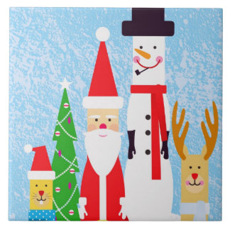 Christmas Figures Large Square Tile