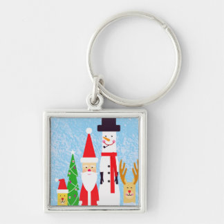 Christmas Figures Silver-Colored Square Key Ring