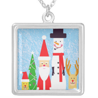 Christmas Figures Silver Plated Necklace