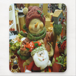 Christmas figures Snowman and Santa Mouse Pad