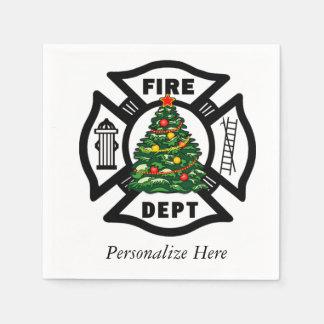 Christmas Fire Dept Disposable Serviettes