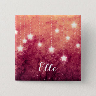 Christmas Fire Red Moon Stars Name Tag Button