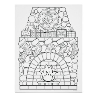 Christmas Fireplace Coloring Poster