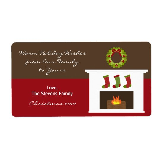 Christmas Fireplace Gift Tag Labels