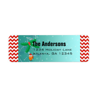 Christmas Fish Chevron Pattern Return Address