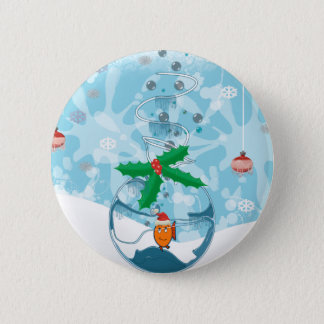 Christmas Fish Splat 6 Cm Round Badge