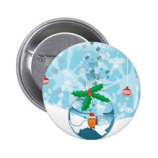 Christmas Fish Splat 6 Cm Round Badge
