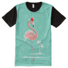 Christmas Flamingo all over t-shirt