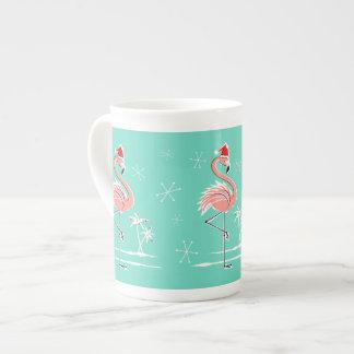 Christmas Flamingo bone china mug