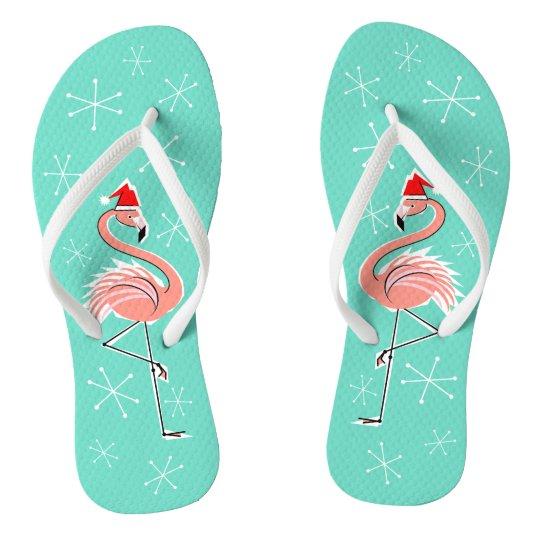 Christmas Flamingo flip flops