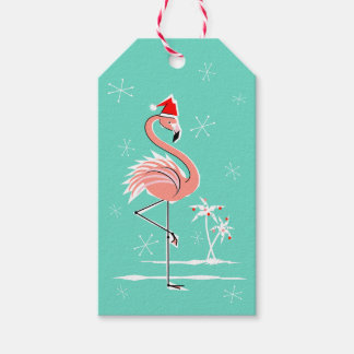 Christmas Flamingo gift tags aqua back